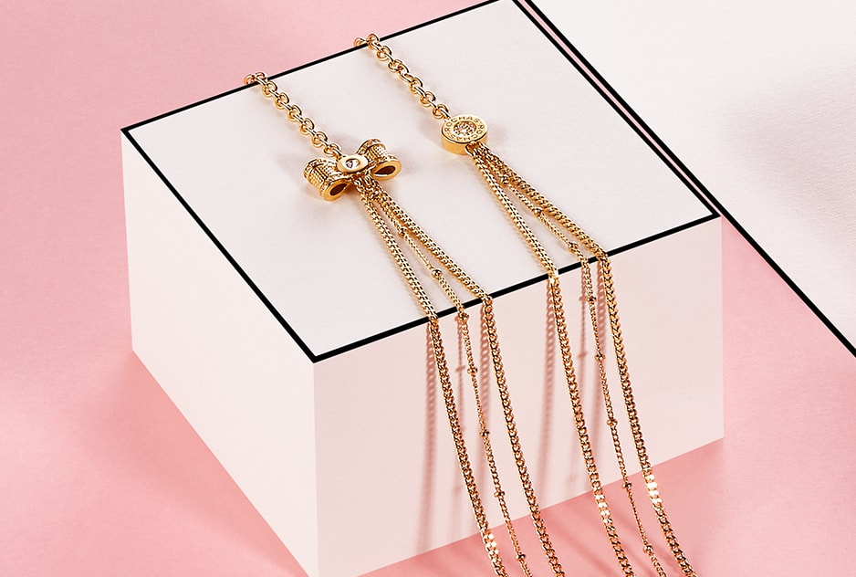 collier sautoir à nœud en métal doré Rochas femme accessoires 2017